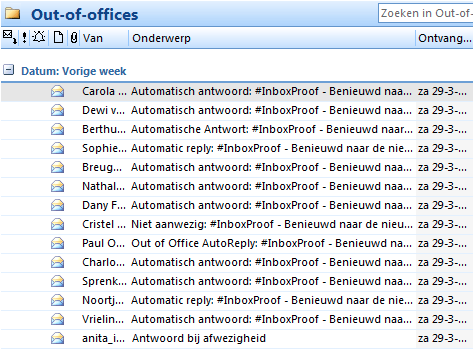 Voorbeeld Out-of-office-meldingen